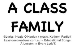 'A CLASS FAMILY' (Ages 4-9) ~ This catchy, values-based song helps children to learn safe, friendly, classroom behaviour, and respect for self and others. *Click link to listen to or purchase song (Track 1):  http://www.cdbaby.com/cd/ohanlonradloff4      ©Lyrics, Nuala O'Hanlon, B.Ed; Cert. Teaching / Music, Kathryn Radloff, B.A. (Hons)Psych: www.keystonecreations.com.au