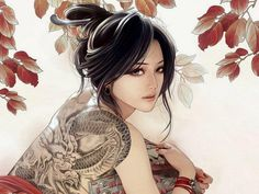 tattoos women dragons back dragon tattoo anime black hair Xiao Bai Film Anime, Art Anime, Anime Kunst, Anime Music, Fantasy Boy, Fantasy Sketch, Fantasy Women, Illustration Manga, Illustration Art Nouveau