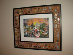 love this idea for displaying pins we dont want to trade...maybe even with a pic of us @ Disney in the middle.