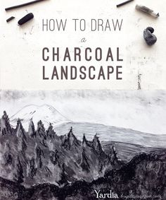 How to draw a charcoal landscape drawing tutorial, with educator downloads