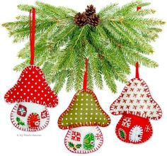 "Toadstool House Christmas Ornaments 4"" Paper Sewing Pattern"