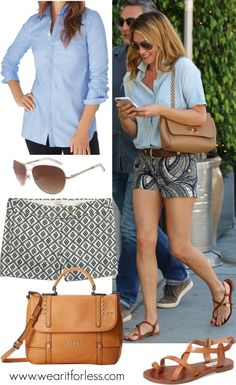 Cat Deeley looks cute in a pair of printed shorts and oxford shirt - get the look for less!