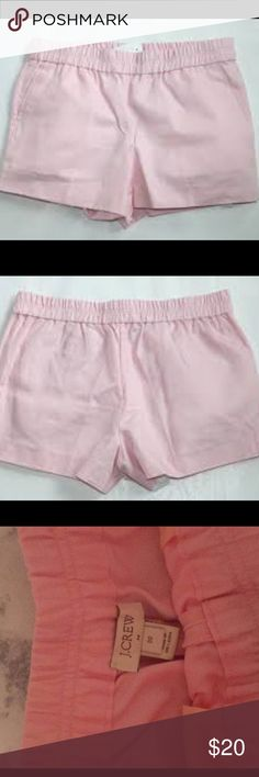 Size 00 JCrew light pink shorts Super cute, just accidentally bought the wrong size. Worn a handful of times. (The color is weird in the pics, it's a pastel light pink color) J. Crew Shorts
