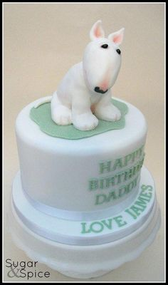 """Cute little puppy on a 6"""" choc mud cake – from a gorgeous little boy to his lucky Daddy :D"""