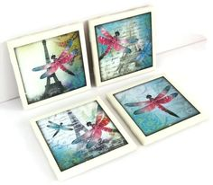 Ceramic tile coasters. Dragonflies, Eiffel Tower and Paris on vintage style postcards design. Has cork backing. For cold and hot drinks.