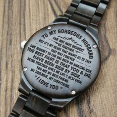 Husband Watch - Perfect Gifts For Husband - Engraved Wooden Watch - Men's Watch Gifts For Fiance, Gifts For Him, Great Gifts, Perfect Gift For Boyfriend, Diy Gifts For Boyfriend, Love Wife, Husband Love, Big Ben, Texts