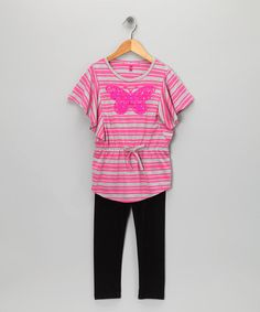 Take a look at this Rose Float Stripe Butterfly Tunic & Leggings - Toddler & Girls by Cherry Stix on #zulily today!