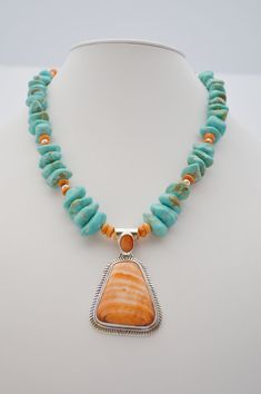 Gorgeous Kingman Turquoise Necklace Featuring Vintage Sterling Spiny Oyster Pendant