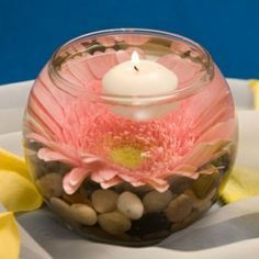 Centerpiece: rocks, gerbera, water and floating candle