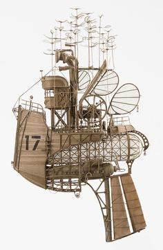 Beautifully Intricate Models of Airships Created Using Cardboard