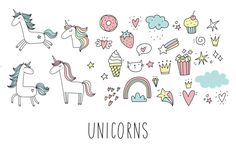 Doodle Unicorn, lettering, patch by Barkova Nadya on @creativemarket