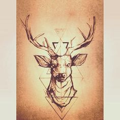 Thinking about getting this on my ribs, representing purity and power. #deer #tattoo #ink #geometric