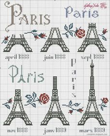 i love when people do things like this with the eiffel tower Cross Stitch Love, Cross Stitch Charts, Cross Stitch Designs, Cross Stitch Patterns, Cross Stitching, Cross Stitch Embroidery, Blackwork, Crochet Chart, Needlework