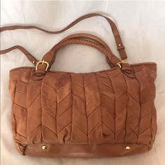 Miu miu leather handbag with crossbody strap Excellent condition minor mark on leather shown in photo. Does not come with dust bag. No pay pal or trades. Price firm.⬇⬇️️ e t Miu Miu Bags