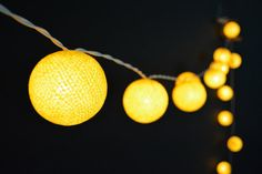 20 Lights - Yellow Cotton Ball String Lights Fairy Lights Patio Lights Wedding Lights Decoration Lights