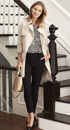 Love this outfit, except if the leopard print was a different print (not animal) The Relaxed Trench is your work week go-to for effortless style Office Looks, Look Office, Office Wear, Office Style, Office Fashion, Work Fashion, Fashion Outfits, Womens Fashion, Street Fashion