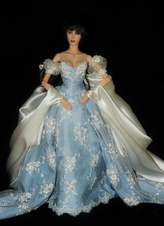 fashion doll, blue ballgown
