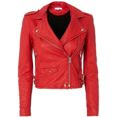 IRO Women's Ashville Red Cropped Leather Jacket ($1,198) ❤ liked on Polyvore featuring outerwear, jackets, coats & jackets, red, leather biker jacket, red moto jacket, red cropped jacket, fleece-lined jackets and crop leather jackets