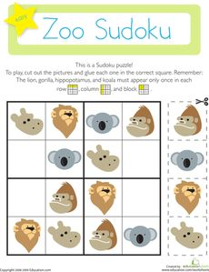 On this kindergarten math worksheet, kids use their logical reasoning and critical thinking skills to solve a fun Sudoku puzzle with a zoo theme.