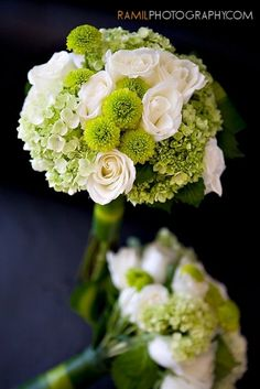 reception wedding flowers - green and white bouquet - white roses, green hydrangea, green button mums. Green Hydrangea Wedding, Green And White Wedding Flowers, White Roses, Green Hydrangea Bouquet, White Hydrangeas, Lavender Roses, Wedding Flower Arrangements, Flower Bouquet Wedding, Flower Bouquets