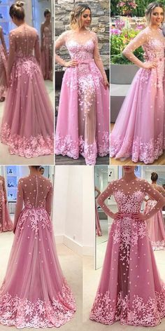 2018 prom dresses,pink lace prom dresses,long sleeves prom dresses,mermaid lace prom dresses with appliques,evening dresses,long evening dresses #lacepromdress #charmingprom #lonmgpromgown