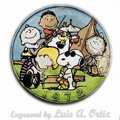 The Peanuts Band Ike Hobo Nickel Colored & Engraved by Luis A Ortiz Hobo Nickel, Simon Says, Peanuts, Hand Carved, Pin Up, Snoopy, Carving, Band, History