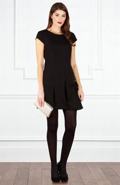 Black Cap Sleeves Dropped Waist Party Dress with Bow Detail Style Code: 13351 $118 Order here: http://www.outerinner.com/black-cap-sleeves-dropped-waist-party-dress-with-bow-detail-pd-13351-11.html