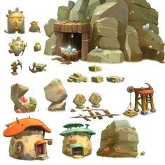 ArtStation - Side-Scrolling_Quarry town, H J W Game Environment, Environment Concept Art, Environment Design, Alien Concept Art, Game Concept Art, Game Background, Cartoon Background, Prop Design, Game Design