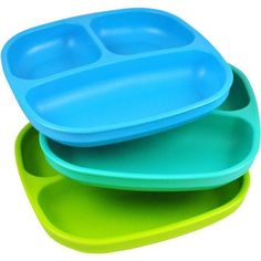 3-Pack Recycled Milk Jugs, BPA-free Divided Plates (8, blue)