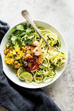 Zucchini Noodles with Cilantro Lime Shrimp is a healthy, simple dinner the whole family will enjoy. Low carb, paleo, Whole30 approved!