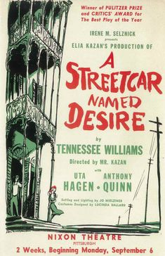 Elia Kazan's 'A Streetcar Named Desire', 1951 - Staring Vivien Leigh, Marlon Brando, Kim Hunter & Karl Malden - Originally, Actor Studio style director Elia Kazan; didn't want Vivien Leigh to play the part of the tortured Blanche; but quickly into rehearsals he saw her utilizing her own method of British stage training & could see that she was the right choice for the role of a lifetime.