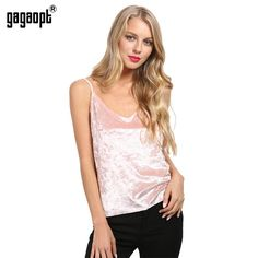 03660dd883e12c Cami Deep V-Neck Velvet Women Top Summer Style Sleeveless Pink Tank Top  Camisole Tank Casual Party Crop Tops