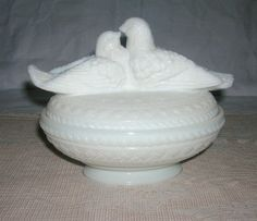 Vintage Westmoreland Milk Glass Doves or Love Birds $25.00 - $55.00. Westmoreland Glass Co was in business nearly 100 yrs. 1889 - 1984. This covered dish belonged to my mother.