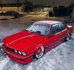 BMW Classic E12 E28 Shark red 635csi slammed tucked wheels in the snow