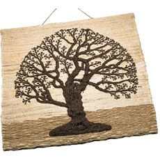 Jute Tree of Life Wall Hanging Tree of life with sturdy strength enhances your wall. The size, earth colors, and rough textures of this wall hanging give it presence and beauty. The heavy wool of ground and overlapping tree branches make this almost a bas-relief.. From Ten Thousand Villages.