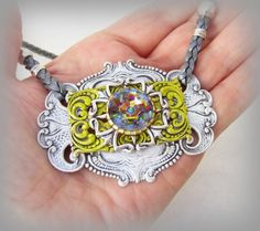 15% Off Coupon Peacock Necklace Pendant Stampings,Yellow, White Patina   ByMyHandsJewelry - Jewelry on ArtFire