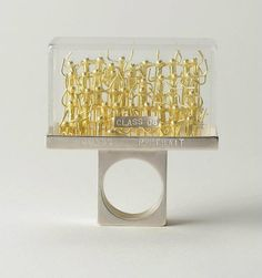 "Asagi Maeda, bague (ring) ""class portrait"", argent, or, plexiglass"