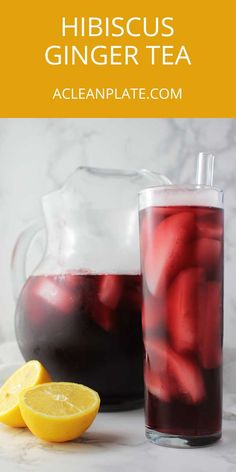 This Hibiscus Ginger Tea uses only 5 ingredients (including water and ice). It's a tasty way to stay cool! http://www.acleanplate.com/recipe/hibiscus-ginger-tea/