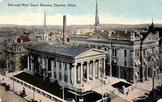 Old and new courthouses in Dayton, Ohio