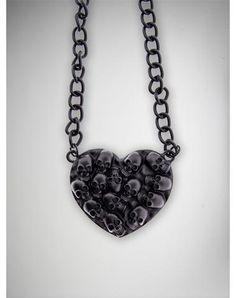 Black Skull Heart Necklace