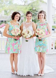 Lilly Pulitzer bridesmaids dresses were a southern twist at the wedding in North Carolina.
