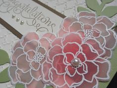 Secret Garden-The flowersdone using Faux Stained Glass technique. Stamp image in versamark on Vellum card stock, cover w White EP, heat emboss then let dry. Turn vellum over, color back of image. Tried two ways of coloring... lighter flowers were colored using a blender pen to pick up Calypso Coral from the inkpad.  Darker flower was sponged with Calypso Coral. The blender pen way created a more subtle look, whereas the sponged way is a lot quicker!