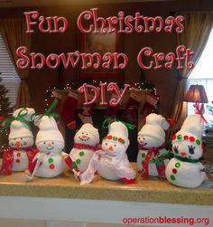 Enjoy this fun DIY snowman Christmas craft with your family for the holidays. 1) Take a large man's white sock with ribbed top. 2) Fill with dry rice. 3) Add two elastics to form the body and head. 4) Cut off ribbed top of sock and flip to form the hat. Tie top with ribbon or string. 5) Use hot glue gun to decorate festively with ribbons, buttons, beads, etc... Great DIY Christmas gift. #OperationBlessing