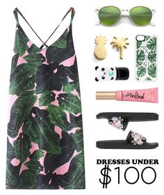 """Tropical Summer Dress (Under $100)"" by lgb321 ❤ liked on Polyvore featuring WithChic, Seoul Little, Alberta Ferretti, Ray-Ban, Too Faced Cosmetics, Casetify and Tony Moly"