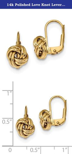 14k Polished Love Knot Leverback Earrings. Product Description Material: Primary - Purity:14K Finish:Polished Length of Item:17 mm Feature:Hollow Manufacturing Process:Casted Material: Primary:Gold Width of Item:9 mm Product Type:Jewelry Jewelry Type:Earrings Sold By Unit:Pair Material: Primary - Color:Yellow Earring Closure:Leverback Earring Type:Drop & Dangle.