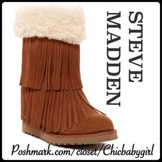 """HPMADDEN WEDGE FRINGE SHEARLING CUFF BOOTIE Step out in these hidden wedge fringe booties with shearling cuff and footbed lining. Microfiber upper and lug sole make this boot a comfy choice. 10"""" shaft  10"""" circumference padded and shearling lined footbed. Heel height 3"""" Steve Madden Shoes Ankle Boots & Booties"""
