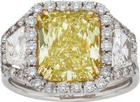 Fancy Intense Yellow Diamond, Diamond, Gold, Platinum Ring