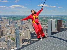 Hanging off the edge of the world at Toronto's CN Tower EdgeWalk #Canada #Toronto #EdgeWalk #CNTower