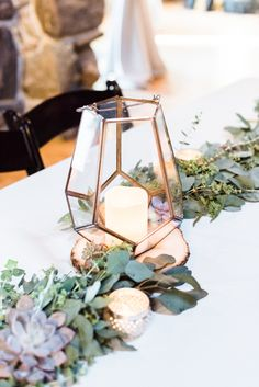 Burgundy, gold and blush bridal shower ideas! Floral and gold geometric centerpieces by Penelope Pots! Terrarium Centerpiece, Lantern Centerpiece Wedding, Wedding Lanterns, Wedding Table Centerpieces, Graduation Centerpiece, Quinceanera Centerpieces, Succulent Centerpieces, Graduation Decorations, Candle Centerpieces