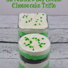 St. Patrick's Day Cookie Cheesecake Trifle Recipe Desserts, Beverages with OREO® Cookies, instant pudding mix, milk, whipped cream, color food green, sprinkles